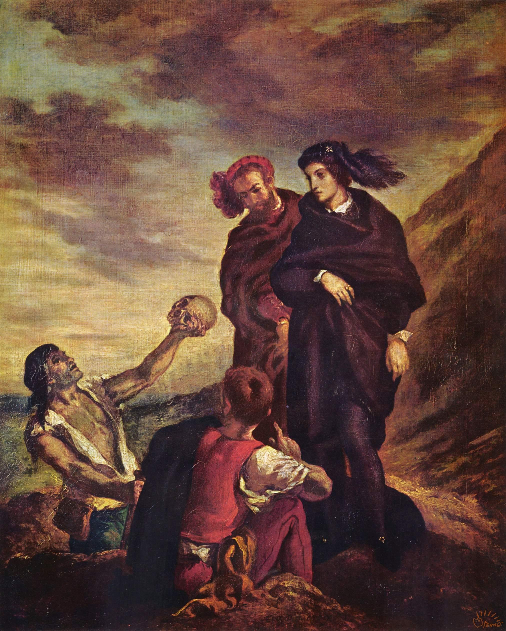 """哈姆雷特中的""""掘墓""""场景——来自维基百科,尤金·德拉克鲁瓦(Eugène Delacroix)1839绘制.jpg"""